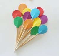 balloons cocktails - Rainbow BALLOON cupcake toppers wedding cocktail Party Food Picks birthday toothpicks bridal showers cake topper