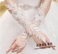 beaded embroidery designs - 2016 Lace Bride Wedding Dress Gloves Long fingerless lace manual seam beaded design Bridal Gloves back lace up Gloves