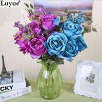 al por mayor etiquetas grandes de las flores-Decoración de la boda encantador con Encanto Pretty 50cm Rose grande de la etiqueta artificial nupcial de la novia de flores de seda