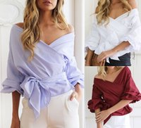 V-Neck Cuffed Sleeve Long Sleeve Women V-Neck Sexy Bow Belt T-shirt Ribbon Tops Off-Shoulder Blouse Casual Tee