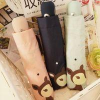 best compact umbrellas - Chowdon Best Automatic Three Folding Compact Umbrella Cute Deer Spot Dots Printed Portable Windproof Ladies Sunshade Umbrella