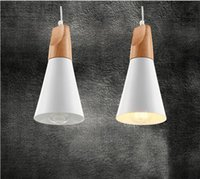 Wholesale 2016 new Nordic Minimalist Pendant Lights Dia mm E27 Simple Living Room Lightings Ikea Modern Oak Wood Aluminum Loft Pendant Lamps