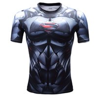 Wholesale 2016 New Fashion men graphic tee Batman superman captain America Printed The avengers alliance printed t shirts quick dry Tight clothing