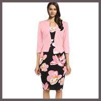 Wholesale Fashion Casual Work Print Floral Patchwork Fall Office Fake Two Bodycon Dress plus size S XL Women Clothing Fitted Elegant Pencil Dresses