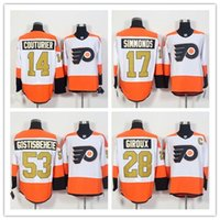 Wholesale 2016 th Philadelphia Flyers Ice Hockey Jerseys Gostisbehere Giroux Simmonds Voracek Orange White Authentic Stitched Jerseys