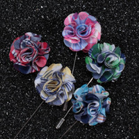 fabric flower pin - New fashion men brooch Flower lapel pin suit Boutonniere Fabric yarn pin colors button flower broochers exquisite weeding