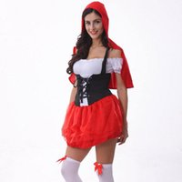 adult costume hats - Red Hat Cosplay Maid Costumes party wear sexy Halloween Costumes for women adult WS024