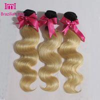 Cheap 1B 613 blonde ombre virgin hair dark roots ombre blonde brazilian virgin hair 3pcs lot dark roots blonde hair free shipping
