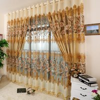 Wholesale Home Curtain Gold High Quality Cutout Flower Luxury Bedroom Curtain Window Screening Without Blackout Curtain for living room