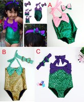 Wholesale 2016 New Baby Girls design Mermaid Swimwear Children Big Bow Swimsuit Bikini Bath suit Beachwear with bow headband outfit