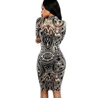 Wholesale 2016 New Women Tribal Tattoo Print Long Sleeve Bodycon Party Club Mini dress New Good Quality