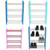Wholesale NEW Fashion Portable Stainless Steel ABS Tier Layer Shoe Tower Rack Shelf Cabinet Stand Space Saving Organiser Storage