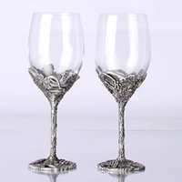 antique barware - Barware wine glass Hand Made Wine Glasses Set Metal Casting Base Wine Glasses set Crystal Wine Glasses set Exclusive Wine Glasses set