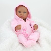 Cheap NPKDOLL 10 inch African American Baby Doll Black Girl Full Silicone Body Reborn Baby Dolls Ethnic Alive Dolls