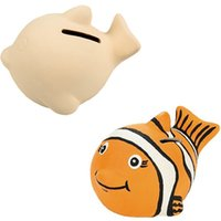 Wholesale 12PCS Paint your own fish piggy bank DIY coin bank Painted toys ceramic painting Birthday gift Ceramic crafts Save bank