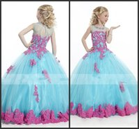 Wholesale Girl Dress Party Ball Gown Appliques Backelss Pageant Dresses Tulle Dresses Floor Length Dress Girl Cheap Price
