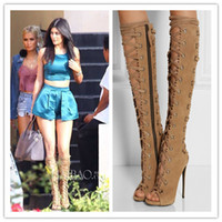 Cheap Lace Up Gladiator Thigh High Boots | Free Shipping Lace Up
