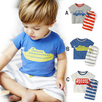 automobile stripes - 3 Design Boy car ship automobile pattern stripe suit DHL summer children cartoon Short sleeve T shirt shorts Suit B001