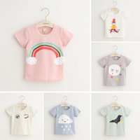 Cheap 2016 summer outfits clothes Cute for girls solid color T-shirt Baby Kids Clothing tshirts cartoon Tops 347