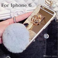 Wholesale For iPhone plus Luxury Furry Ball Mirror Case TPU Fur Ball Case For iPhone s plus Galaxy S7 edge