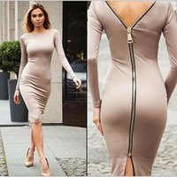 Wholesale New arrive Women Zipper Dress Long Sleeve O neck Dress Sexy Stretch Bodycon Dresses Fashion Sring Autumn Style One Piece Casual Knee le