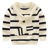 baby boy sweater designs - New Design Kids Sweater Striped White Black Scarf Collar Preppy Boys Sweaters Knitted Pullover Baby Boy Girl Sweater Long Sleeve Tops Autumn