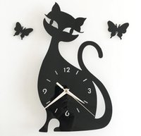 Wholesale Cute Cartoon DIY Black Cat Mute Ultrathin Wall Clock Wall Poster for Bedroom Drawing room Decoration