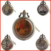 big clock necklace - Roman number Paris Eiffel Tower Big Ben Triumphal Arch pendant pocket watch necklace quartz watch clocks jewelry Christmas gift