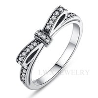Wholesale 18K Platinum Plated Ring AAA Austrian Zircon Sterling Silver Wedding Jewelry Bowknot Style Best Pave Setting Finger Rings cm cm