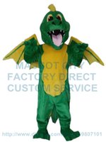 Wholesale green dragon mascot costume dinosaur dino custom adult size cartoon character cosply carnival costume