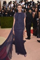 agyness deyn - Agyness Deyn dark navy short sleeve met gala ball Red Carpet Dresses long prom dresses black girl prom plus size evening dresses