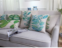 Wholesale tropical leaves green country decor cushion cover cotton sofa throw pillow case decorative cojines