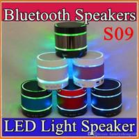 beat buttons - 2016 Newest Prodduct LED Speaker S09 Enhanced Speaker LED Light Ring Super Bass Metal Mini Portable Beat Hi Fi Bluetooth Handfree C YX