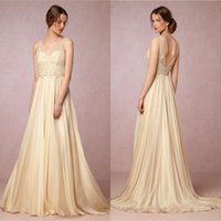 Wholesale BHLDN New Simple Summer Beach Wedding Dresses Bohemian A Line V Neck Sexy Backless Lace Appliques Long Bridal Gowns Wedding Reception