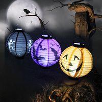 Wholesale Halloween Pumpkin Paper Lantern Portable Lantern Lights Glow Halloween props Venue Layout color Lighting