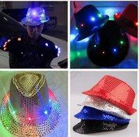 Wholesale Led Fedora Wholesale - 5 color LJJK303 Flashing Light Up Led Fedora Trilby Sequin Unisex Fancy Dress Dance Party Hat LED Unisex Hip-Hop Jazz Lamp Luminous Hat