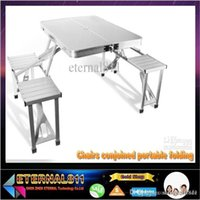Wholesale High quality is suing picnic table folding tables and chairs conjoined portable folding table aluminum alloy