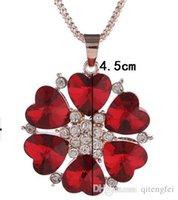 Cheap New Women Diamond Crystal Flower Pendant Necklace Chain Jewelry Ho