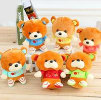 Cheap NEW 18CM 12pcs lot I Love You pp Cotton Kid Toys Plush Doll Mini Small Teddy Bear Flower Bouquets Bear for Wedding