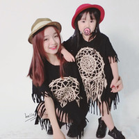 Wholesale 2016 Summer Mother Daughter Dresses Short Sleeve Matching Clothes Cotton Tassel Mom And Daughter Dress Family Look Girl And Mother Clothing