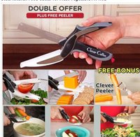 Wholesale DHL SEND clever cutter in Knife Cutting Board Scissors portable camping traveling vegetable knife cutter