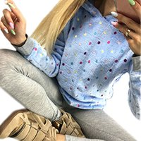 Wholesale Autumn and winter new women s sweater plush jacket Hooded long sleeved sweater printed candy color burst models