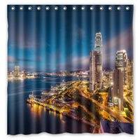 bay curtain - Hong Kong Skyscrapers Buildings Bay Lights S Design Shower Curtain Size x cm Custom Waterproof Polyester Fabric Bath Shower Curtains
