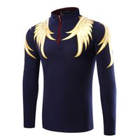 Wholesale Cool Wing Polo Shirts Slim Long Sleeve Cotton Blend Designer Formal Polo Shirts for Men Three Colors