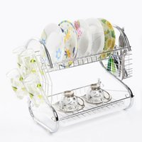 Wholesale 2 Tier Kitchen water drip Bowls Storage Holders Rack cutlery Shelf fruit and vegetable Dish Rack Set Drying Utensil FreeShipping