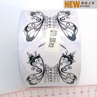 Wholesale White and Black butterfly almond Roll Nail Form for Acrylic UV Gel Tips Extension Art TEJER0144