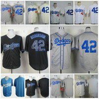 Wholesale cheap stitched Los Angeles LA Dodgers shirts Jackie Robinson th patch throwback baseball Jerseys Rugby Jersey White Mix Order