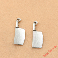antique silver knife - 100pcs Antique Silver Plated Knife Charms Beads Pendants for Jewelry Making DIY Handmade x9mm jewelry making