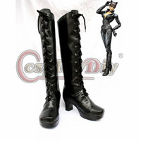 Costume Accessories adult superhero shoes - Catwoman Shoelace High Heel Black Superhero Shoes DC Comics Superhero Boots Adult Halloween Party Cosplay Boots D0612