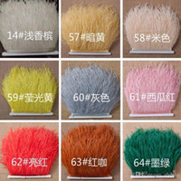 Wholesale Ostrich Feather Trimming on Satin Header Ostrich Feather Plumes Fringe Trim cm Feather Boa Stripe Muticolor Clothing Accessories